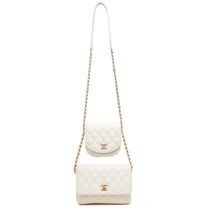 Chanel White Lambskin Quilted Side Packs Shoulder Bag