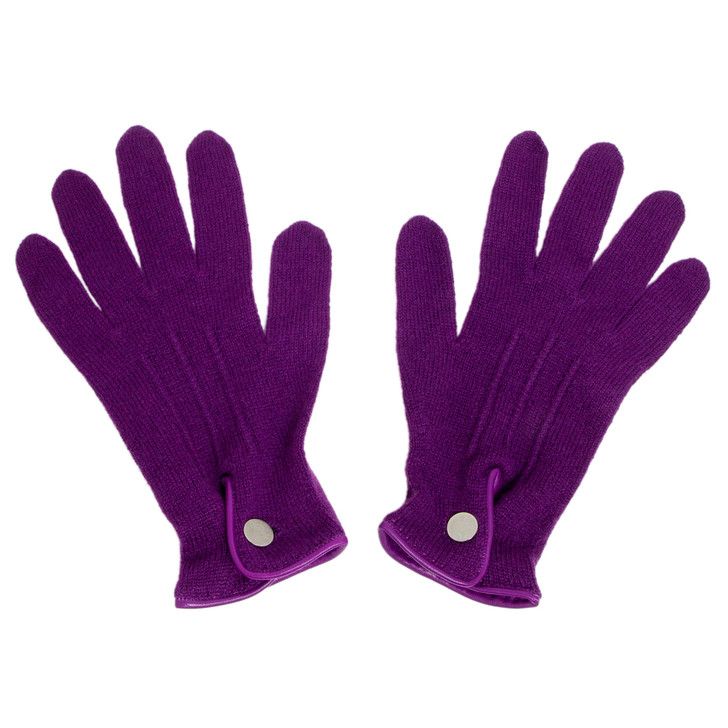 Hermes Purple Cashmere Knit Gloves