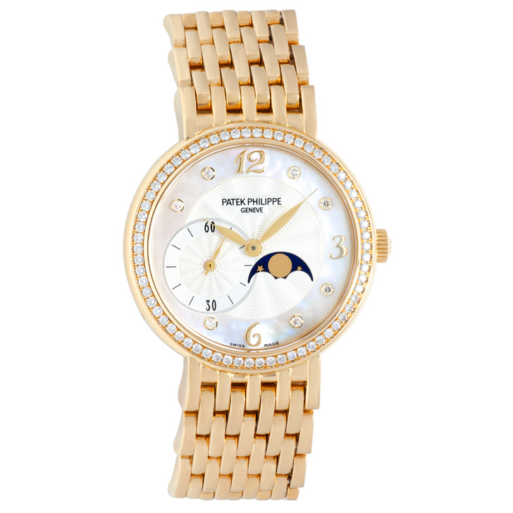 Patek Philippe 18K Yellow Gold & Diamond Calatrava Moonphase Ladies Watch 4958-1J