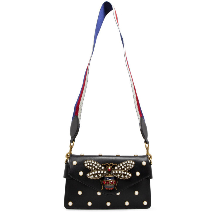 Gucci Black Calfskin Pearl Studded Mini Broadway Bee Shoulder Bag