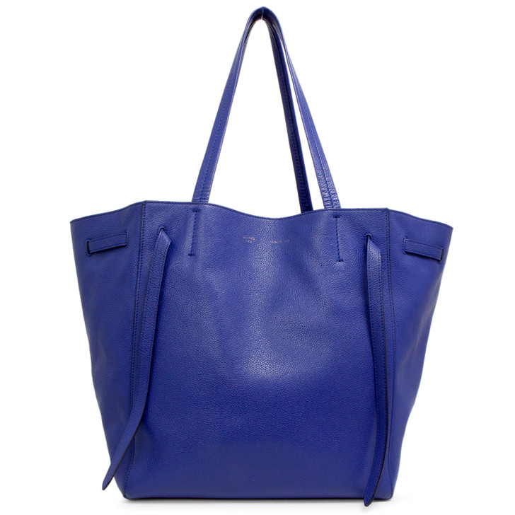 Celine Blue Grained Calfskin Small Belt Cabas Phantom  Tote
