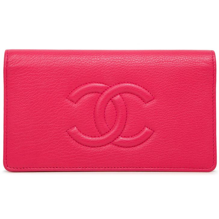 Chanel Pink Calfskin Timeless Yen Wallet