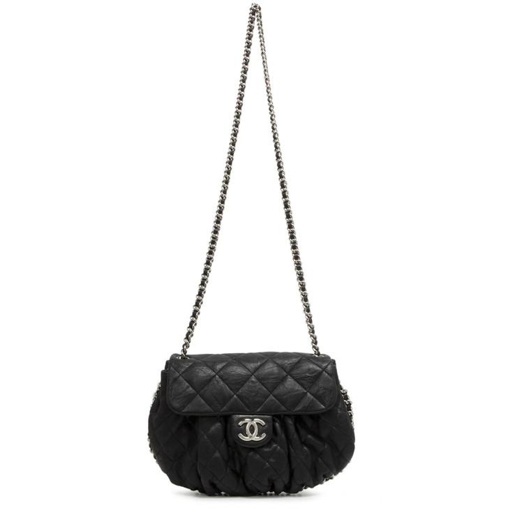 Chanel Black Washed Lambskin Medium Chain Around Messenger  Bag
