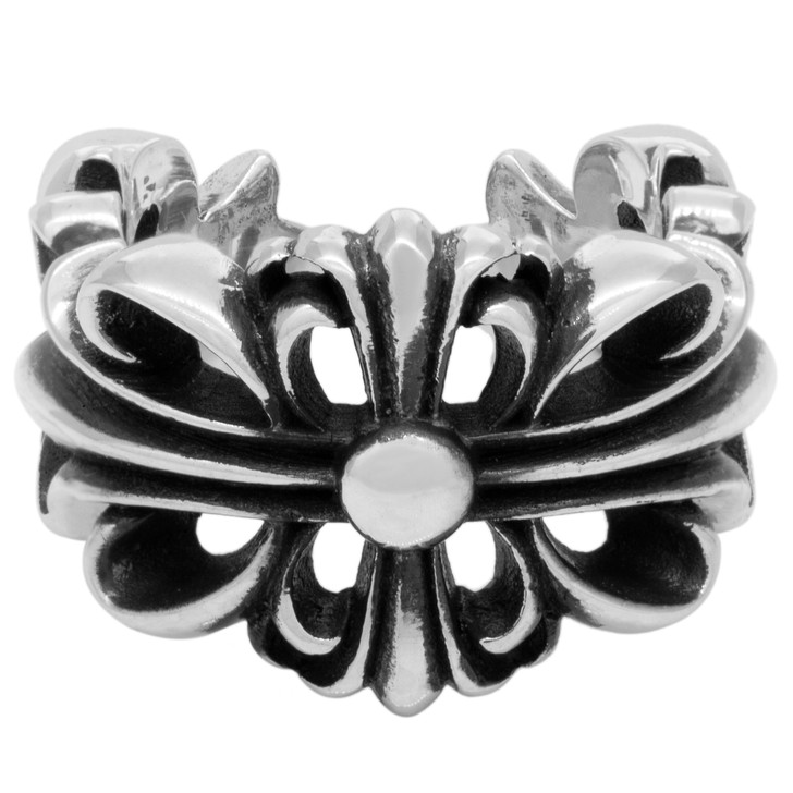 Chrome Hearts Sterling Silver Double Floral Cross Ring