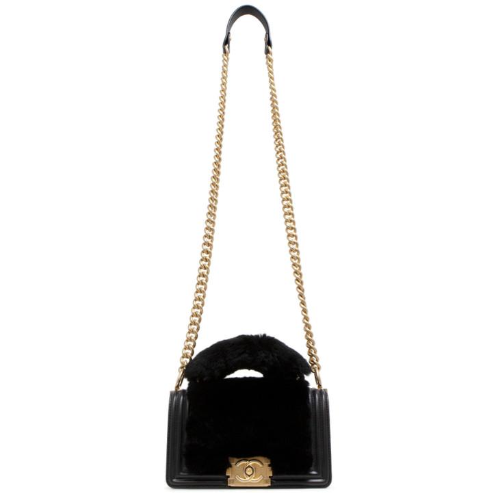 Chanel Black Lambskin & Rabbit Fur Top Handle Small Boy Bag
