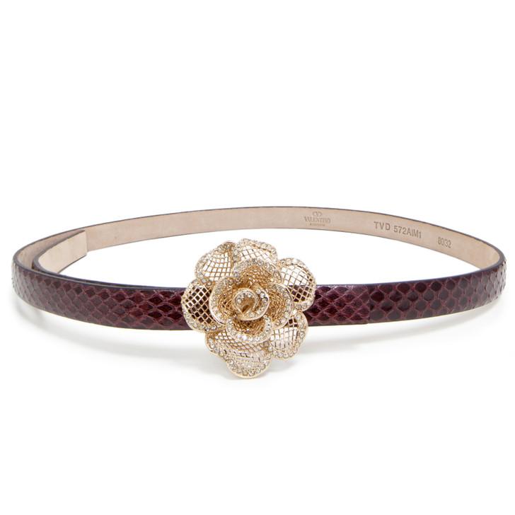 Valentino Floral Crystal Python Belt