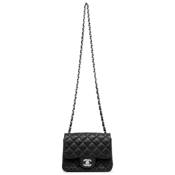Chanel Black Iridescent Caviar Quilted Mini Square Flap