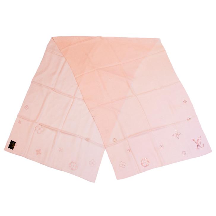 Louis Vuitton Pink Cashmere Swarovski Crystal Monte Carlo Stole