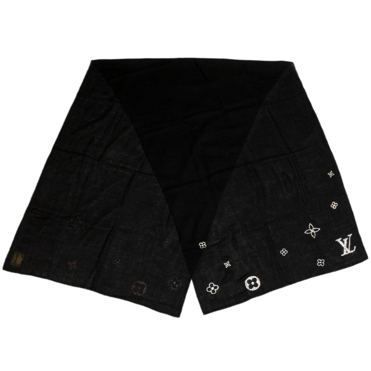 Louis Vuitton Black Cashmere Swarovski Crystal Monte Carlo Stole