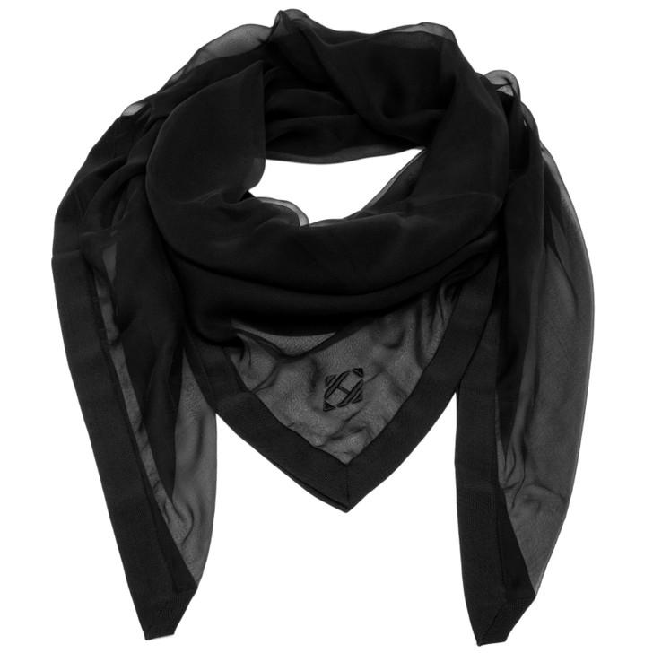 Hermes Black Sheer Silk H Logo Shawl