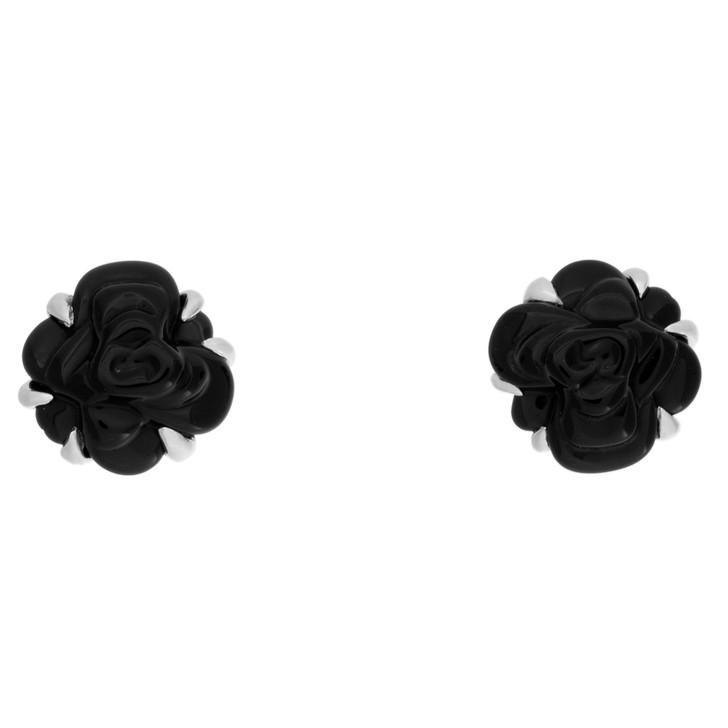 Chanel 18K White Gold & Black Agate Earrings