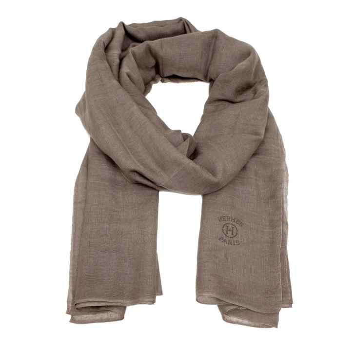 Hermes Grey Cashmere/Silk Plume Allumette Stole