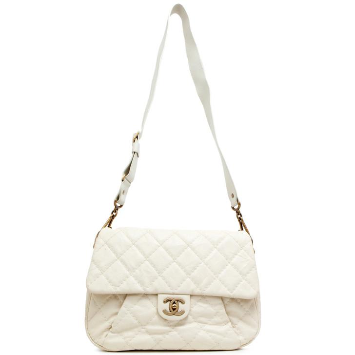 Chanel Ivory Caviar Coco Pleats Messenger Bag
