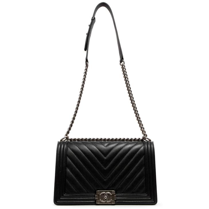 Chanel Black Chevron Quilted Caviar New Medium Boy Bag