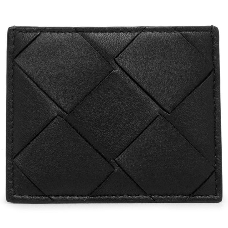 Bottega Veneta Black Nappa Maxi Intrecciato Card Case