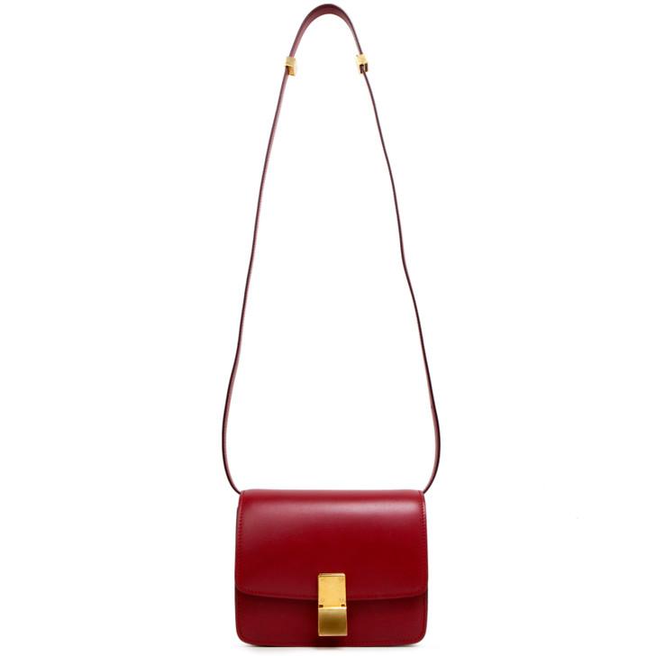 Celine Red Smooth Calfskin Small Classic Box Flap Bag