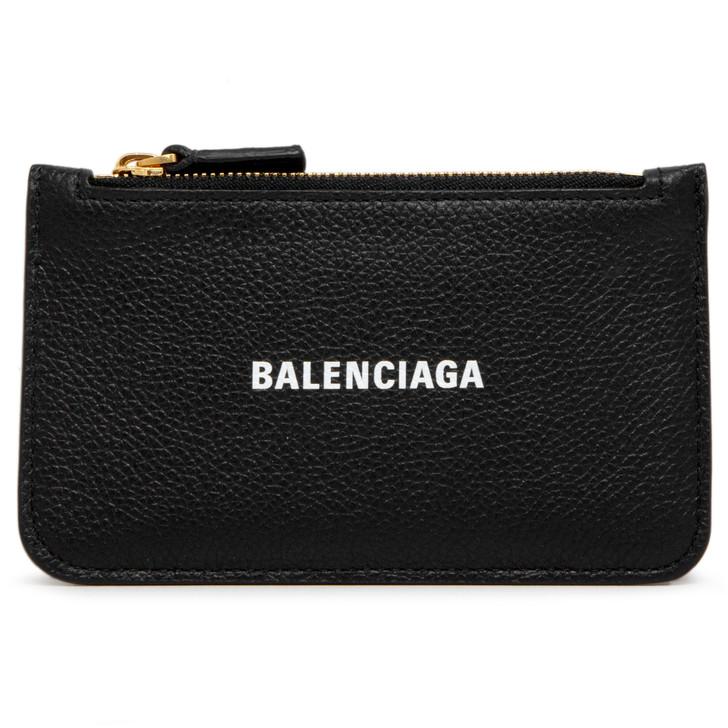 Balenciaga Black Calfskin Long Coin and Card Holder