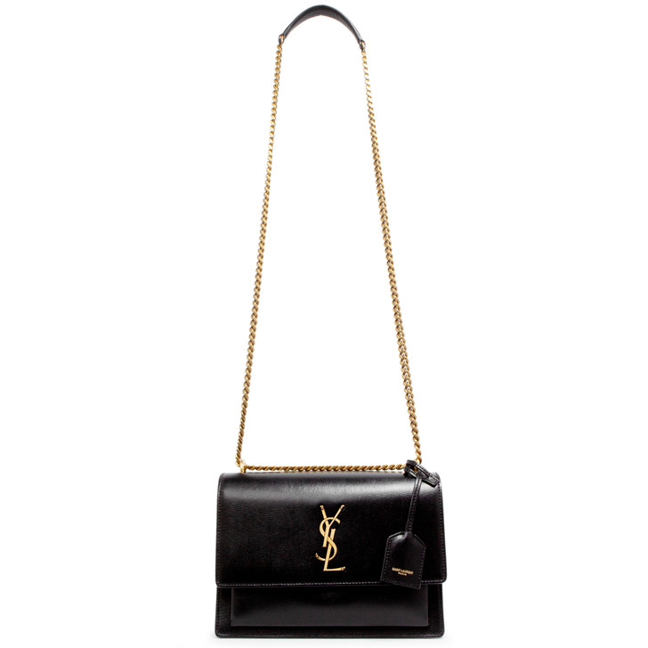 Saint Laurent Black Calfskin Medium Monogram Sunset