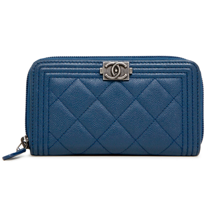 Chanel Blue Caviar Quilted Small Boy Zip Around Wallet