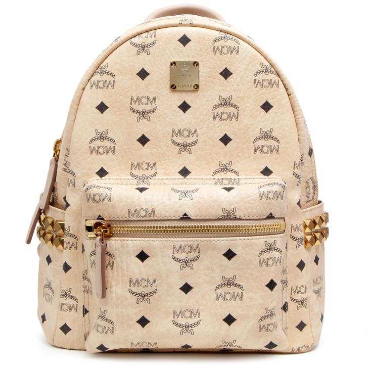 MCM Beige Visetos Canvas Side Studs Small Stark Backpack