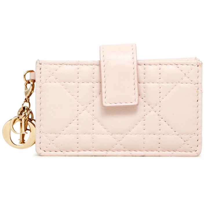 Christian Dior Pink Lambskin Cannage Lady Dior Gusseted Card Holder