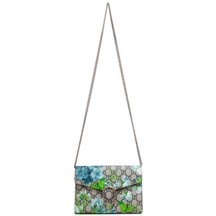 Gucci Blue GG Blooms Dionysus Wallet on Chain