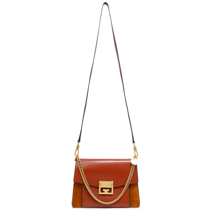 Givenchy Chestnut Goatskin and Suede Small GV3 Shoulder  Bag