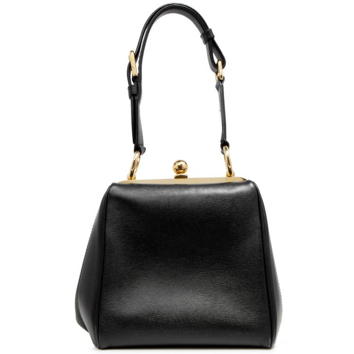 Dolce & Gabbana Black Calfskin Agata Shoulder Bag