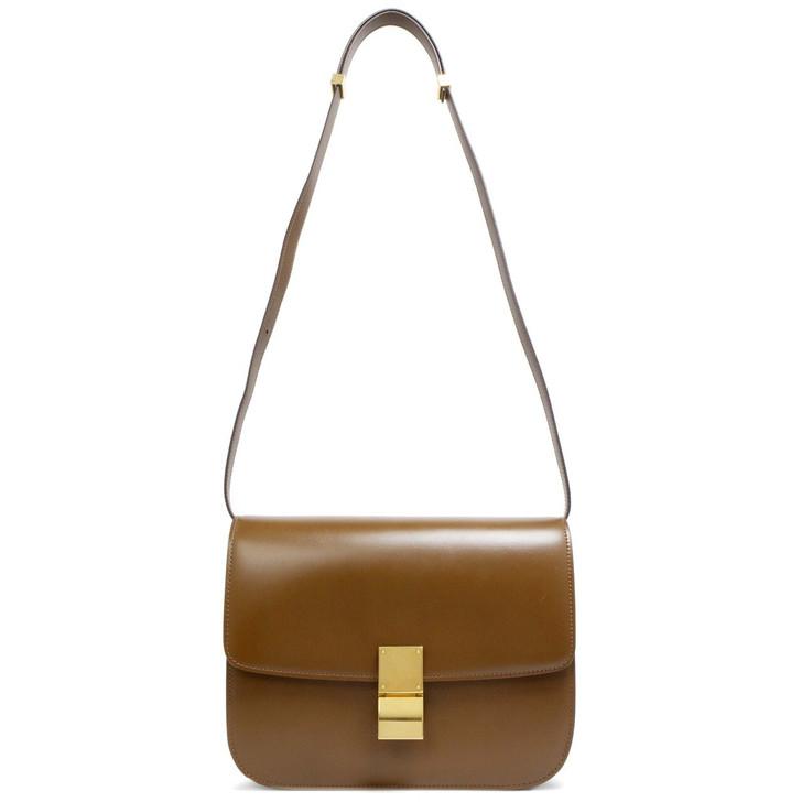 Celine Camel Box Calfskin Medium Classic Box Flap Bag