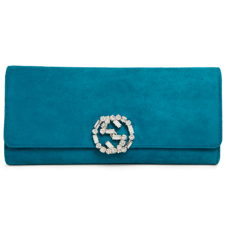 Gucci Teal Suede Crystal Broadway Clutch