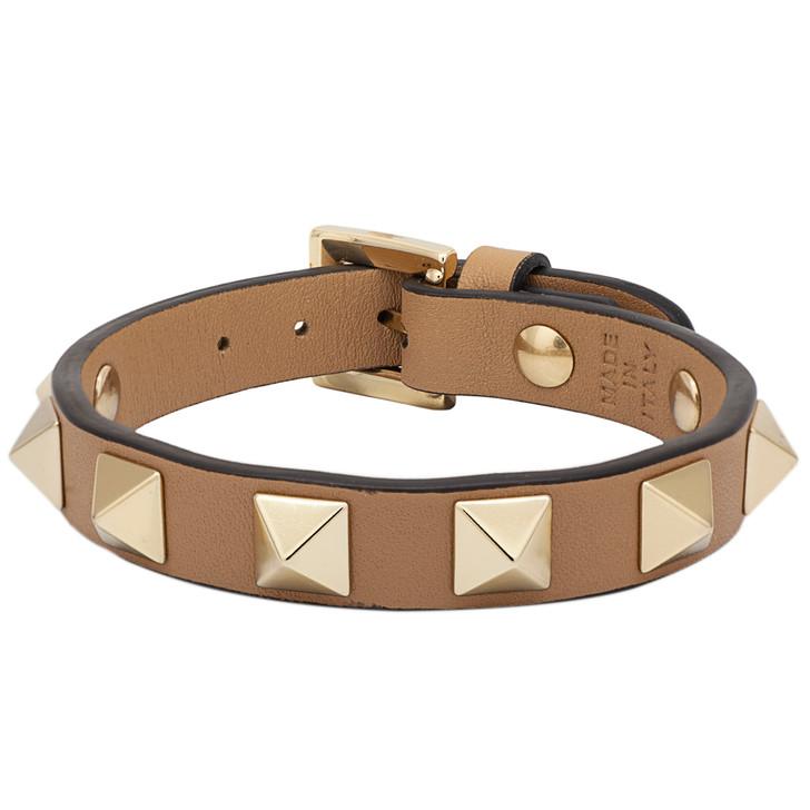 Valentino Beige Vitello Rockstud Bracelet