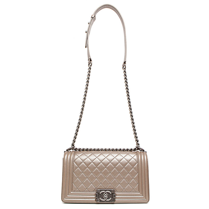 Chanel Copper Quilted Caviar Medium Boy Bag