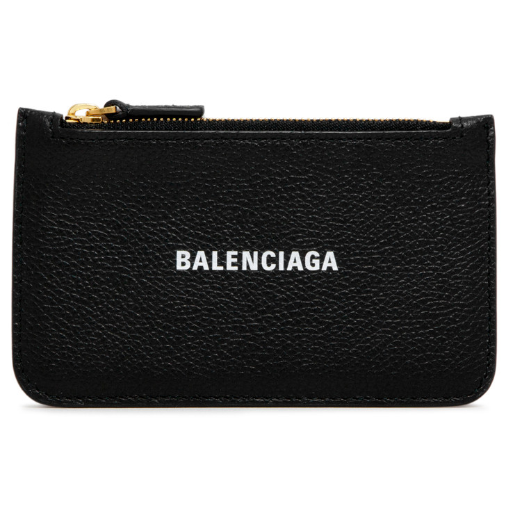 Balenciaga Black Calfskin Long Coin and Card  Holder