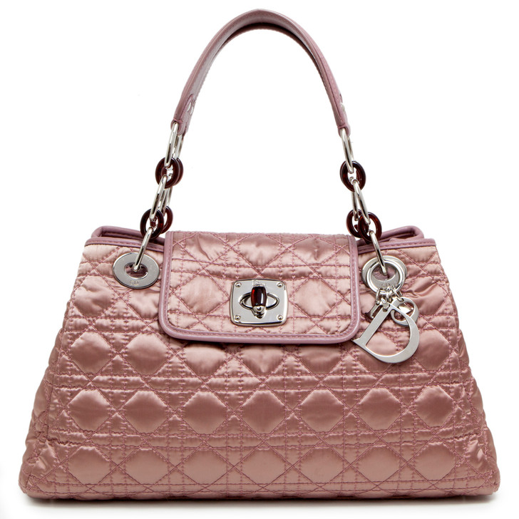 Christian Dior Pink Cannage Quilted Satin Charming Lock Bag
