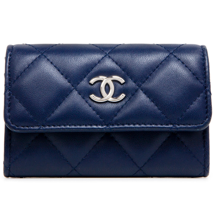 Chanel Navy Quilted Lambskin Flap Card Holder