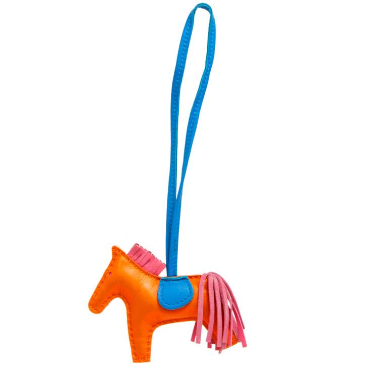 Hermes Orange/Bleu Izmir/Rose Azalee Milo Lambskin Grigri Rodeo Horse Charm PM