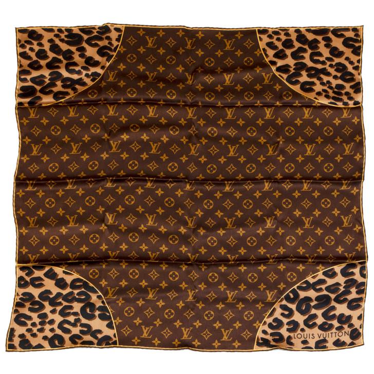 Louis Vuitton Silk Monogram Leopard Square Scarf