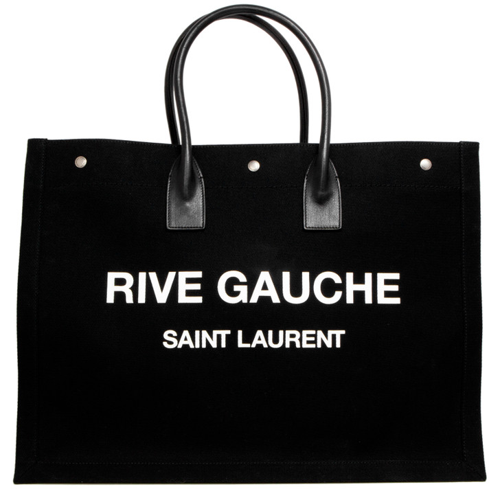 Saint Laurent Black Linen & Calfskin Rive Gauche Tote