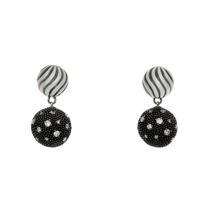 David Yurman Sterling Silver & Diamond Midnight Melange Drop Earrings