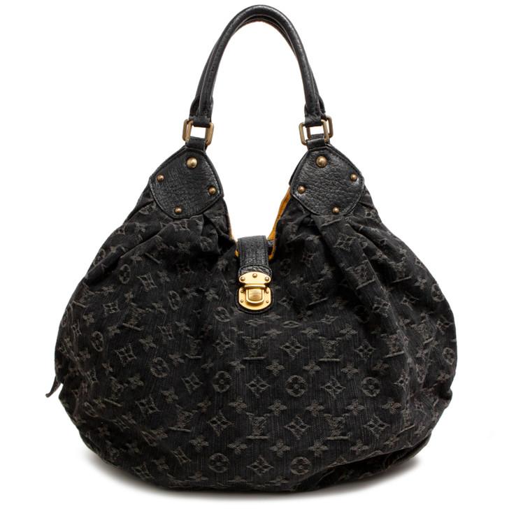Louis Vuitton Black Denim Mahina XL