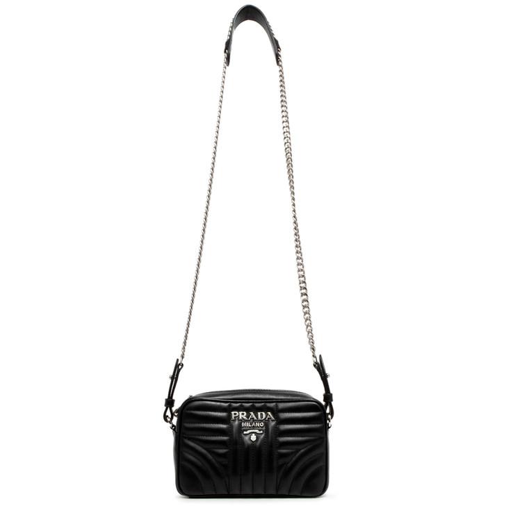 Prada Nero Soft Calfskin Diagramme Crossbody  Bag