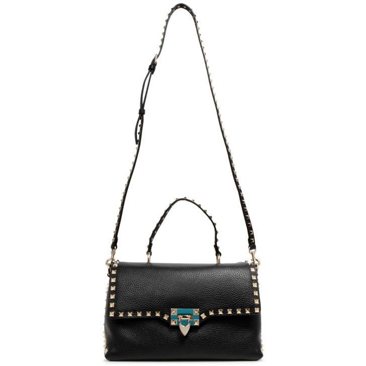 Valentino Black Pebbled Calfskin Rockstud Top Handle Shoulder Flap Bag