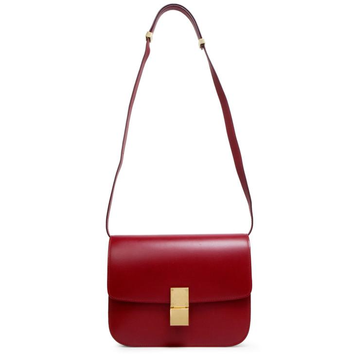 Celine Red Smooth Calfskin Medium Classic Box Flap Bag