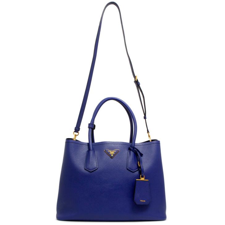 Prada Inchiostro Saffiano Cuir Large Double Bag