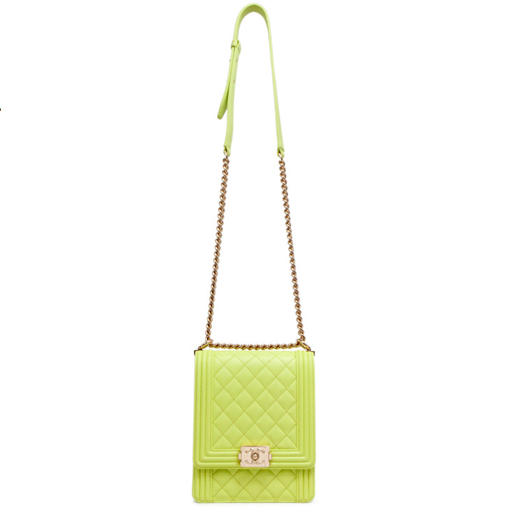Chanel Light Green Quilted Calfskin North South Boy Bag