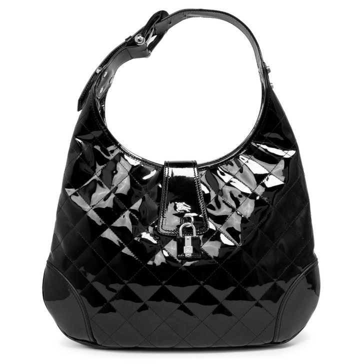 Burberry Black Quilted Patent Brook Hobo