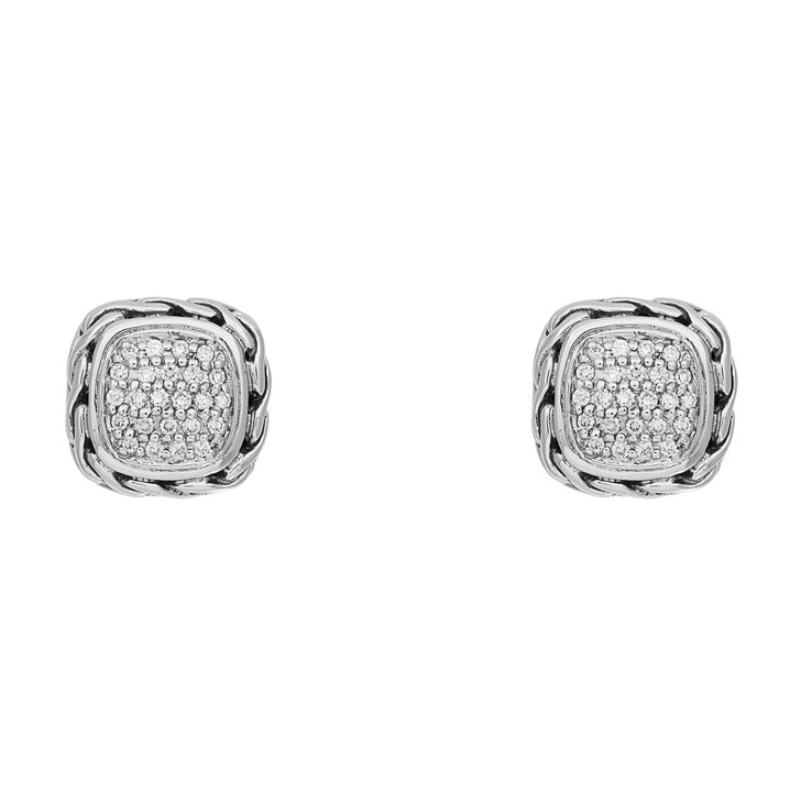 John Hardy Sterling Silver & Diamond Classic Cable Earrings