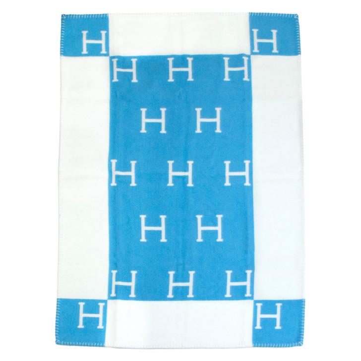 Hermes Bleu Genievre/Blanc Wool/Cashmere Avalon Baby Blanket