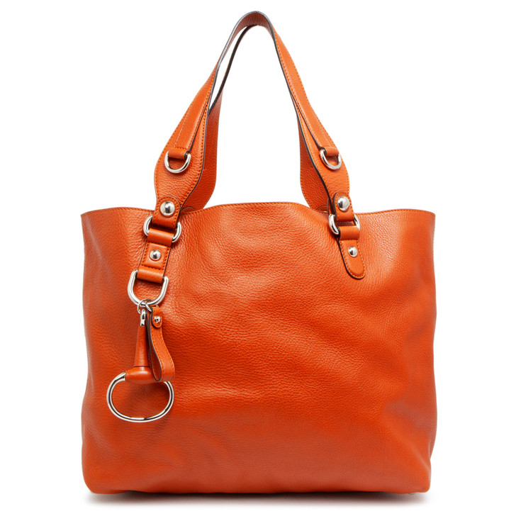Gucci Orange Calfskin Medium Icon Bit Tote