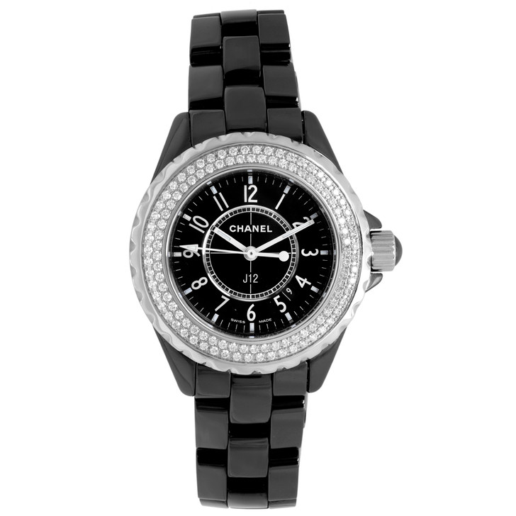 Chanel Black Ceramic & Diamond 33mm Quartz J12 H0949